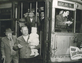 Passengers getting off Highland Park transit